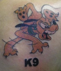 K9 goofy tattoo in colour